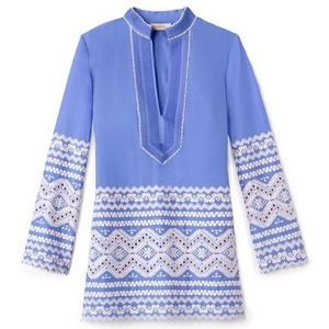 Tory Burch Zita tunic wedge blue/ivory 14